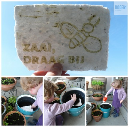Handmade paper with seeds