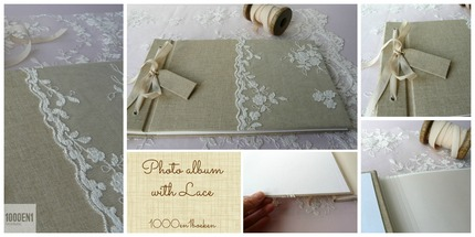 Photo album with lace